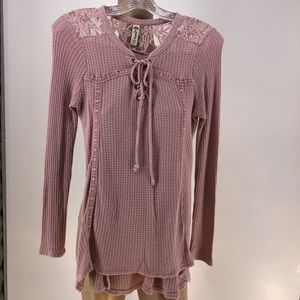 American Rag Waffle Knit Lace Up Long Sleeve Top